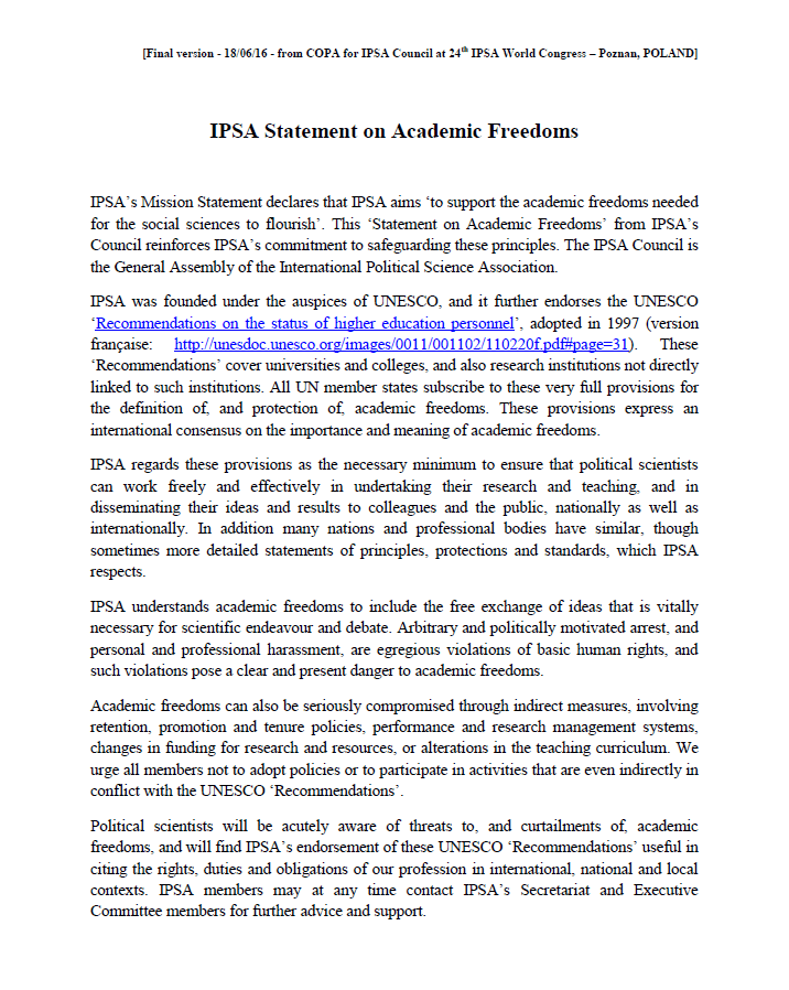 IPSA statement